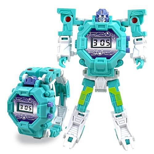 Teepao Orologio Digitale Giocattolo per Bambini Orologio da deformazione Giocattolo Orologio Robot Giocattolo per Bambini 3-10 Anni -Verde
