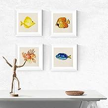 PACK de láminas para enmarcar CUATRO PECES. Posters cuadrados con imágenes de peces. Decoración de hogar. Láminas para enmarcar. Papel 250 gramos alta calidad