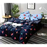 Ab Home decor 160TC Glace Cotton Duvet/Razai/Quilt Cover for Double Bed Size with Zipper (Dohars) 90x100 inch- Blue Hearts Printed