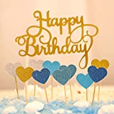 Happy Birthday Kuchendekoration Cake Toppers Kuchen Deko (Gold+ Blau Herz)