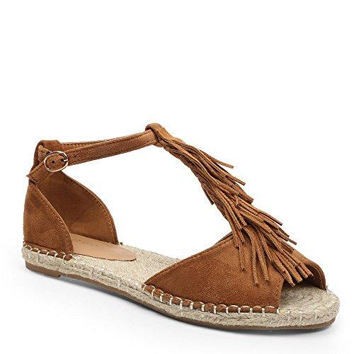 Ideal Shoes–Sandale mit Zehenöffnung und Fransen Effekt Wildleder Vera Braun - Camel