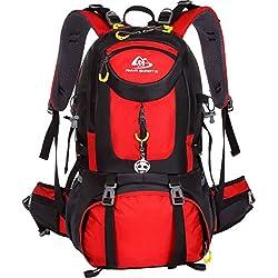 Mochila de senderismo impermeable de 50 l de volumen; mochila de acampadas, para acctividades al aire libre; mochila de viaje; mochila de ciclismo; mochila de estudiantes; mochila de esquí; mochila de caza; mochila deportiva; con reflector con forma de panda., color rojo, tamaño 50 L, volumen liters 50.0