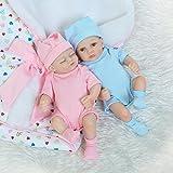 Decdeal 2 Stück Reborn Baby Puppe Zwillinge mit Vollsilikon Körper Lebensecht Baby Puppe NPK