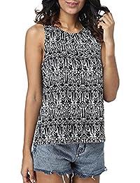 Camisetas sin mangas para mujer, LILICAT® Chaleco de verano Sexy Bohe Blusa con cierre de pliegue floral 2018,…