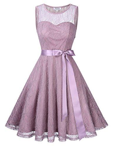 KoJooin Damen Elegant Kleider Spitzenkleid Brautjungfern Kleid Festliches Kleid Cocktailkleid Abendkleid Knielang Hellviolett Spitzenschicht XL