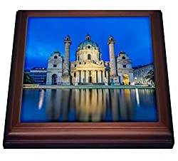 3dRose trv_207827_1 Austria Vienna Karskirche St. Charles Church At Dawn. Trivet with Ceramic Tile, 8 x 8, Natural