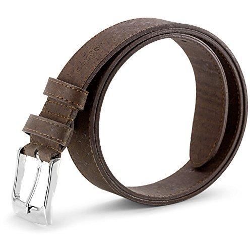 Corkor Cinturón de Corcho para Hombre Con Hebilla Plateada Vegano