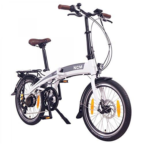 "NCM Lyon 36V, 20\"" Zoll E-Faltrad, Klapprad, E-Bike, Pedelec, Elektrofahrrad, 250W Bafang Heckmotor, 8Ah 288Wh Li-Ion Rahmenakku mit PANASONIC Zellen, weiß/matt weiß/anthrazit (20\"" Weiß)"