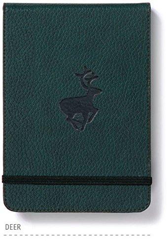 Dingbats* Wildlife A6+ Reporter Notizbuch - PU-Leder, Mikroperforiert 100gsm Creme Seiten, Innentasche, Elastisch (Kariert, Grüne Hirsche)