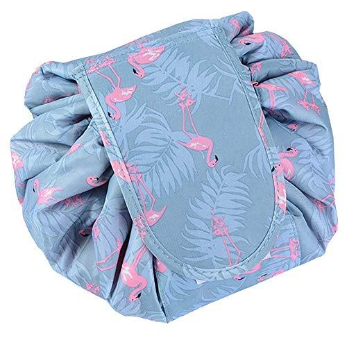 Lazy coulisse make up bag, borsa da toilette trousse da viaggio portatile grande capacità trucco borsa organizer portaoggetti per donne ragazze (flamingo)