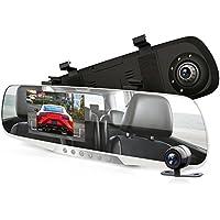 Monitor de espejo retrovisor para cámara Dash Cam – 4,3 pulgadas DVR cámara de visión trasera doble sistema de grabación de vídeo en Full HD 1080p con sensor G integrado detector de movimiento de aparcamiento control Loop Grabación Soporte – Pyle PLCMDVR46