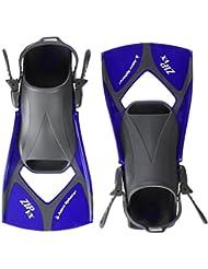 Aqua Sphere Zip VX - Aletas de entrenamiento para natación, color azul, talla Medium/Size 6.5 - 9.5