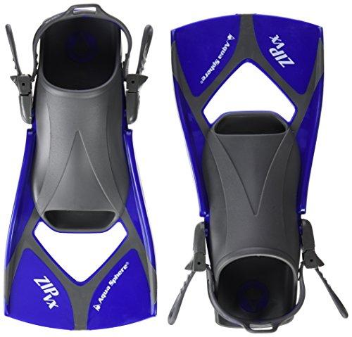 Aqua Sphere Zip VX - Aletas de Entrenamiento para natación, Color Azul, Talla Medium/Size 6.5-9.5