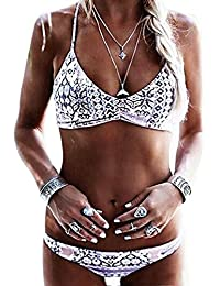 Vandot Damen Sexy bandage Bikini Swimwear Push Up Gepolstert Neckholder Bikini Sets Verband Design Druck Bademode Beachwear Badeanzug Tankini Low Waist Niedrige Taille Oberteil Tops und Bottoms