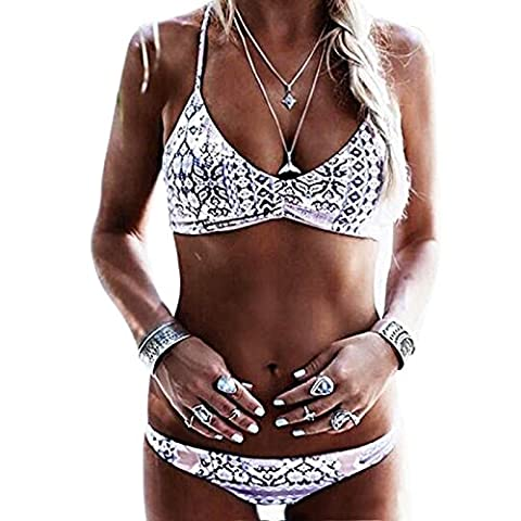 Vandot Damen Sexy Split Bandage Bikini Swimwear Bikini Push Up Bandeau Neckholder Strand Bademode Niedrige Taille Swimsuit Tankini Beachwear Low Waist Shorts Oberteil Tops und Bottoms Set