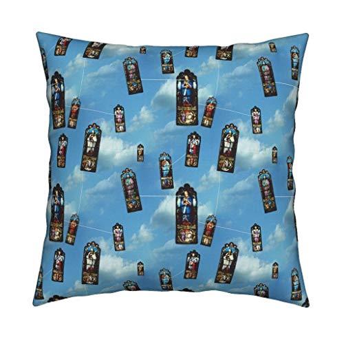 Quadratischer dekorativer Kissenbezug aus weicher Baumwolle, für den Innen- und Außenbereich, für Sofa, Schlafzimmer, Zuhause, Büro, Auto, 45,7 x 45,7 cm Kites Small Prints Church