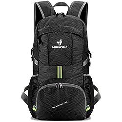 NEEKFOX Mochila de excursionismo ligera y portátil, Mochila de camping plegable 35L, Mochila deportiva ultraligera para exterior (01.Negro)