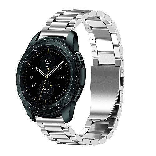 JiaMeng Diamante Pulsera de Reloj Reemplazo Banda Correa de Lujo del reemplazo de la Pulsera del Acero Inoxidable para el Reloj del Samsung Galaxy 42mm(Plata)