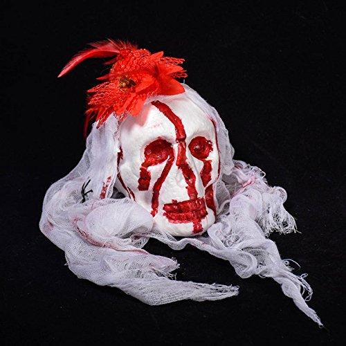 Zantec Halloween Bar Haunted House Dekoration Requisiten Schaum Simulation Bloody Teufel Kopf Friedhof Horror Kleid Garn Hanging Drop Ornamente