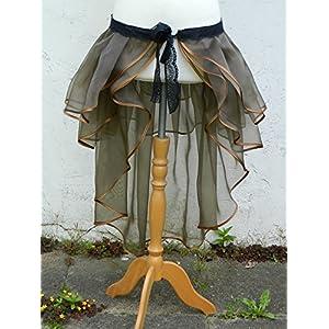 Rock braun Bustle Skirt Schleppe Wickelrock Vokuhila Steampunk