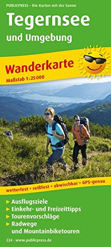 Tegernsee und Umgebung: Wanderkarte mit Radwegen und Mountainbikerouten, Ausflugszielen, Einkehr- & Freizeittipps, wetterfest, reissfest, abwischbar, GPS-genau. 1:25000 (Wanderkarte / WK)