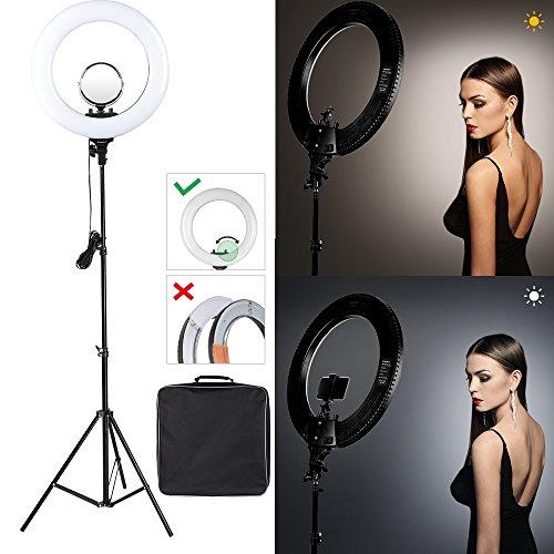 """CRAPHY Ringlicht, 18"""" 48W dimmbare Ringleuchte mit 432 LEDs, 3200k-5500k LED Ringlicht Set mit Zubehörschuh, Lampenstativ und Netzkabel, Bi Color LED Ringleuchte für Portraitaufnahme, Produktfotografie, Modefotografie, Videoaufnahme"""