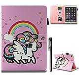 BtDuck iPad Air 2 Hülle Rosa Magnet Niedlich Einhorn Cover iPad Air 2/iPad 6 Hülle Leder Katze Tier SlCase ID für Tasche Brieftasche Geschenk Kinder Weihnachtsgeschenke - Regenbogen Einhorn