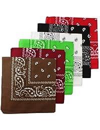 BOOLAVARD 100% algodón 1pcs, 6pcs o 12pcs paquete Bandanas con el color Original de patrón de Paisley de opción sombreros/pelo