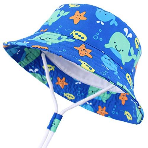 Snyemio Baby Jungen Sonnenhut Fischerhut Kinder Sommerhut Strandhut Baumwolle mit Breite Krempe UV Schutz