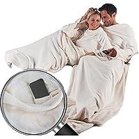 Coperta con maniche XL Custodia per cellulare in microfibra coperta di pile 170x 200cm + 50cm Bianco Panna con TV da Soffitto Super Soffice