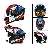 GSDZN - Motorradhelm Mit Einem Bluetooth-Headset Offener Gesichtshelm Atmungsaktiv Und Warm Vier-Jahreszeiten-Vollgesichtshelm,K-XXL