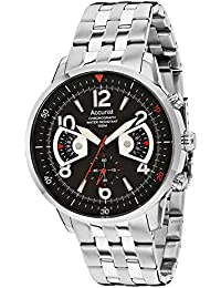 Accurist Men's Quartz Watch with Black Dial Chronograph Display and Silver Stainless Steel Bracelet MB1020B.01