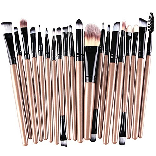 Make Up Pinselset Makeup Bürsten Foundation Lidschatten Eyeliner Lippen Make-up Pinsel Kosmetik Set (Gold/Schwarz) ()