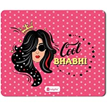 Indigifts Cool Bhabhi Quote Printed Mouse Pad (Pink, 8.5x7-inch)