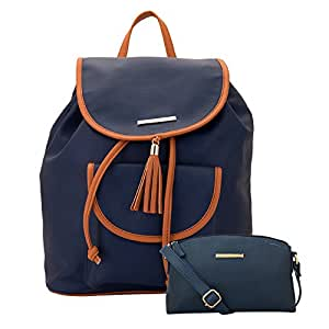 Lapis O Lupo Combo Lilac Women Backpack and Sling Bag (Blue,Blue)
