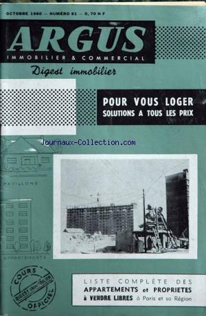 ARGUS IMMOBILIER ET COMMERCIAL (L') [No 81] du 01/10/1960 - liste des appartements et proprietes a vendre libres a paris et sa banlieue par Collectif