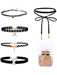 SGM 5 Pieces Black Velvet Choker Necklace Set for Women, Girls and Teenagers