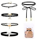 #6: SGM 5 Pieces Choker Set Velvet Necklace Black With Storage Bag For Women And Girls