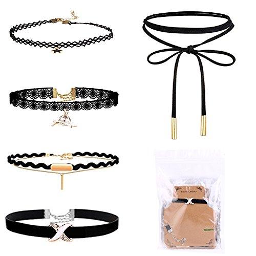 SGM 5 Pieces Black Velvet Choker Necklace Set With Storage Bag For Women