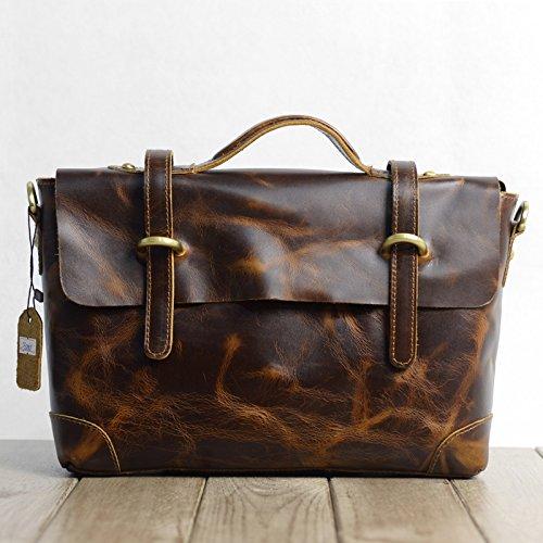 Angleterre mode rétro sac Messenger en cuir sacs à bandoulière pour ordinateur portable sac homme sacs à main,Black grain pattern The rough Brown