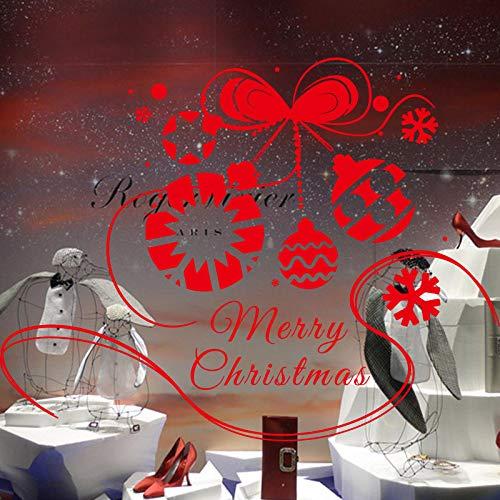 (Geschnitzte kreative Schneeflocke hängen Kugel PVC Lampe Wandaufkleber Frohe Weihnachten 128x98 cm)