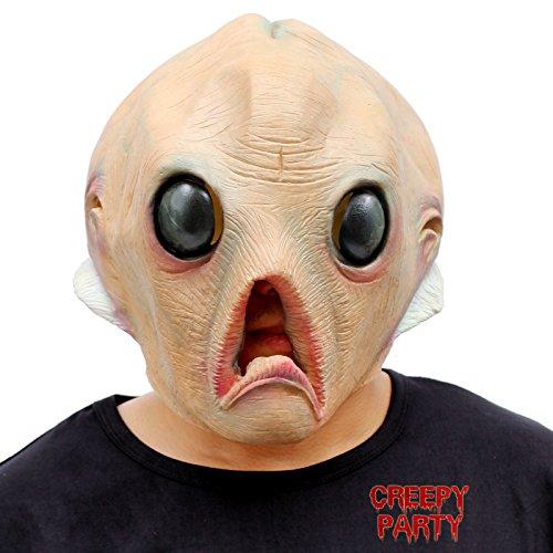 CreepyParty Deluxe Neuheit-Halloween-Kostüm-Party-Latex-menschliche Hauptmaske Masken Alien (Kinder Alien Kostüm)