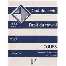 Droit du crédit, droit du travail : Cours, DECF, épreuve n °2