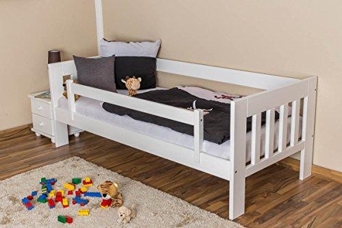 Kinderbett / Juniorbett Kiefer massiv Vollholz weiß lackiert 95, inkl. Lattenrost - 90 x 200 cm (B x L) - 5