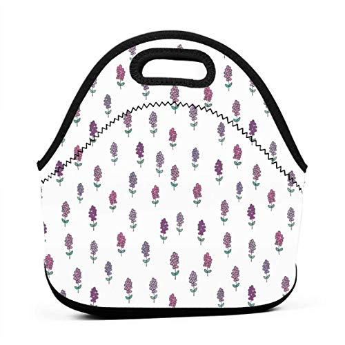 Tiny Lavender Fleurs Neoprene Lunch Bag with Cutlery Case for Thermal Thick Lunch Tote Bag for Adults,Kids Fleur Thermal