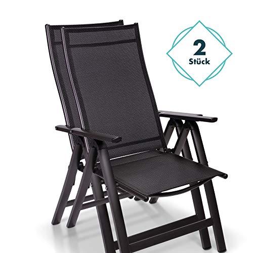 Homeoutfit24 Sun Garden Premium Line 2er Set Gartenstuhl Hochlehner London in Anthrazit, Klappsessel aus Aluminium & robustem Kunststoff, wetterfeste Gartenmöbel