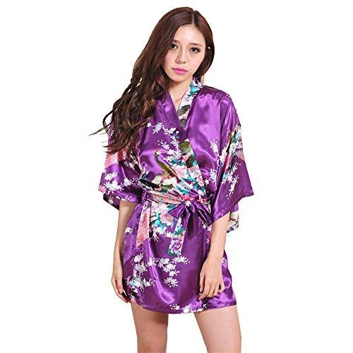 LILICAT⁂Peignoir Satin Robe de Chambre Kimono Manches Courtes Satin Soyeux Peignoir Court Kimono Soie Femmes Artificielle Paon Fleur Robe de Chambre Kimono, Cardigan Peignoir Vêtement de Nuit Femme