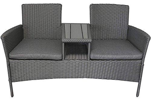Polyrattan Gartenmöbel Sitzbank mit Tisch dunkelgrau