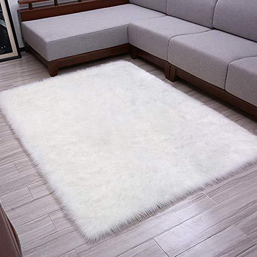 LOCHAS Alfombra de Pelo sintético Blanca, para el salón, Alfombra de Piel de Oveja Muy Suave y Antideslizante...
