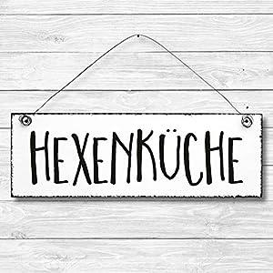 Hexenküche – Dekoschild Türschild Wandschild aus Holz 10x30cm – Holzdeko Holzbild Deko Schild